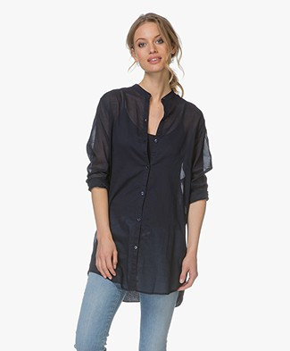 Majestic Cotton Mao Blouse with Jersey Back Panel - Marine