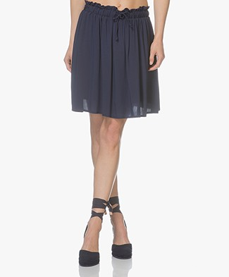 Marie Sixtine Devia Pleated Viscose Skirt - Ink