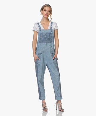 Zadig & Voltaire Sidney Denim Chambray Patch Dungarees - Blue