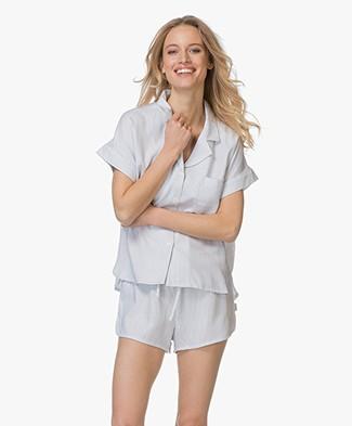 Calvin Klein Gestreepte Pyjama Blouse in Viscose - Wit/Donkerblauw