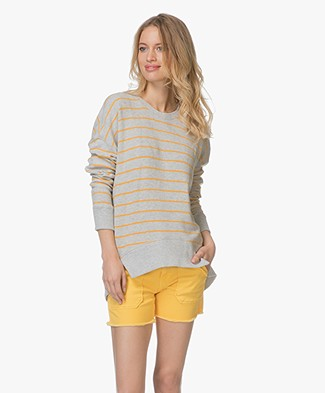 Denham Captain Gestreepte Sweater - Grijs/Gold