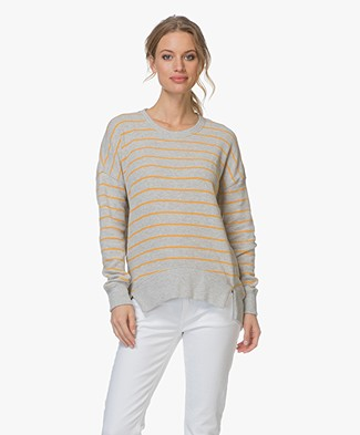 Denham Captain Striped Fleece Sweater - Grey/Gold