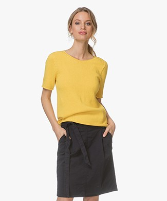 Majestic Short Sleeve Pullover with Cashmere - Honey