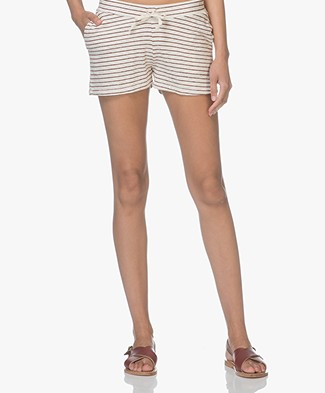 BY-BAR Peppe Stripe Sweat Shorts - Cream/Wine