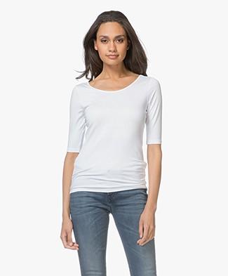 Denham Force T-shirt met Lage Rug - Optic White