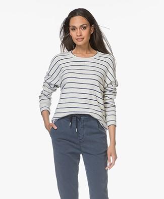 Denham Sweater Emmanuella Cotton Fleece - Grijs Mêlee/Navy