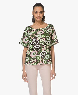 Kyra & Ko Franca Linen Short Sleeve Blouse - Chocolate