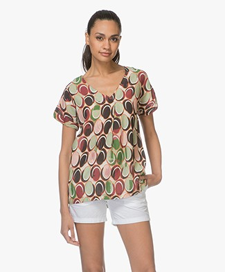 Kyra & Ko Inge Voile Printed Short Sleeve Blouse - Green