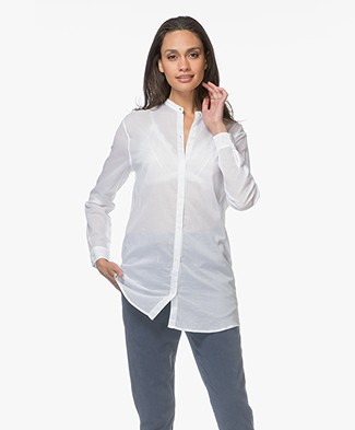 Majestic Cotton Mao Blouse with Jersey Back Panel - White