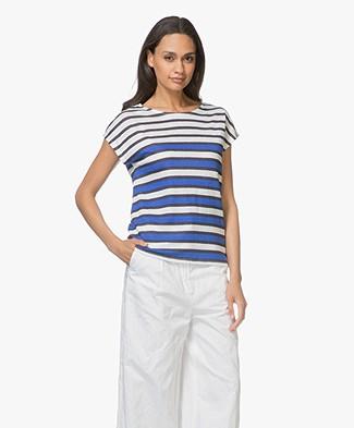 Petit Bateau Linen Striped Tee - Cobalt/White/Navy