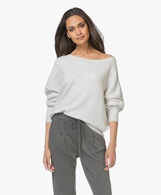 American Vintage Damsville Off-shoulder Sweater - Grey Melange