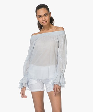 BRAEZ Bianca Off-shoulder Blouse in Katoen - Aqua