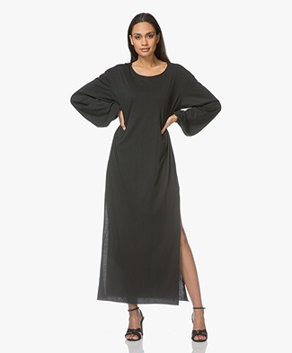 Fine Edge High Gauge Jersey Maxi Dress with Side Slits - Black