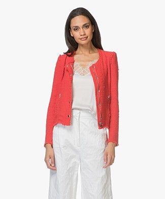 IRO Agnette Distressed Boucle Blazer - Poppy red