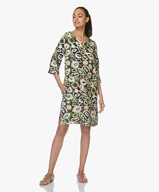 Kyra & Ko Fien Printed Linen Dress - Chocolate