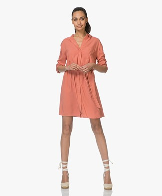 Marie Sixtine Elya Viscose Shirt Dress - Terracotta