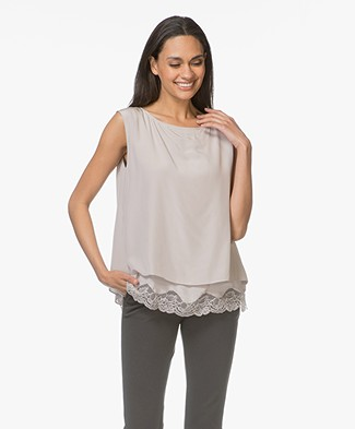 Repeat Silk Top with Lace - Sand