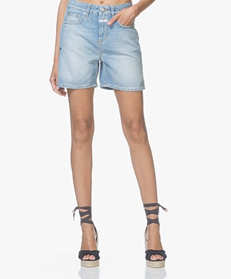 Closed Lucy High Waist Denim Shorts - Washed Light Blue