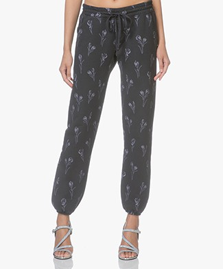 Current/Elliott The Collegiate Printed Sweatpants - Tossed Tulip-Wash