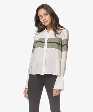 Equipment Huntley Silk Blouse with Striped Design - French Vanilla/Camouflage