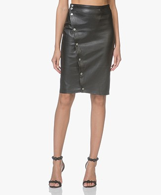 Rag & Bone Baha Leather Pencil Skirt - Black