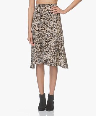 Ragdoll LA Leopard Print Ruffle Skirt - Camel
