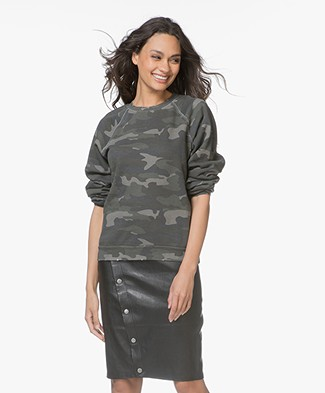 Ragdoll LA Distressed Camo Print Sweatshirt - Army