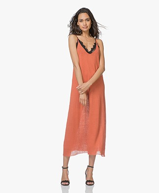 American Vintage Flaxcity Fine Knitted Linen Midi Dress - Renard