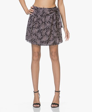 ba&sh Cortese Flared Skirt with Print - Dark Blue