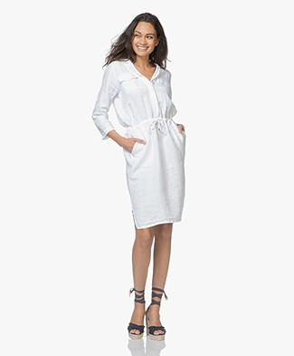 LaSalle Linnen Dress with Drawstring - White