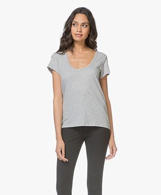 Rag & Bone Katoenen U-hals T-shirt - Heather Grey