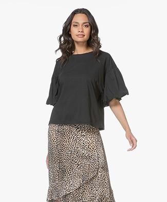 Ragdoll LA Puff Sleeve Jersey T-shirt - Zwart