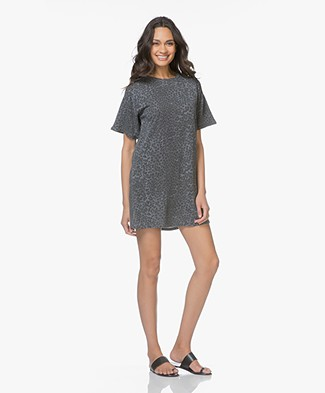 Ragdoll LA Tee Mini Dress with Leopard Print - Grey