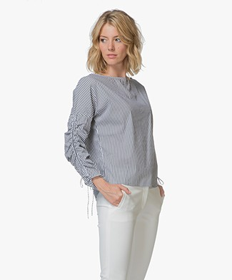 BOSS Espa Striped Blouse - Dark Blue/White