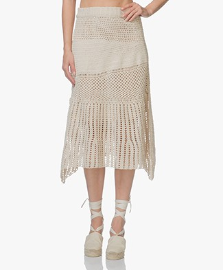 FWSS Anja Crochet A-line Midi Skirt - Antique White
