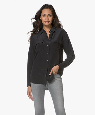 Equipment Signature Washed-silk Blouse - Zwart