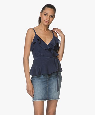 FWSS Sunniva Silk Wrap Top - Maritime Blue