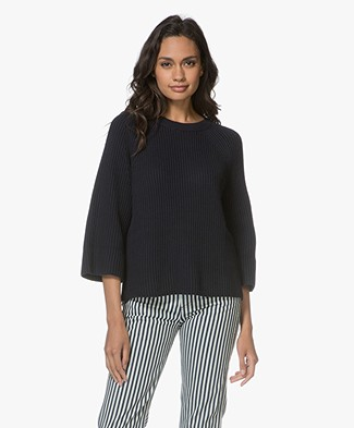 Filippa K Ribbed Cotton Trui - Navy