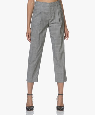 Filippa K Simone Cropped Pantalon - Lichtgrijs Checks