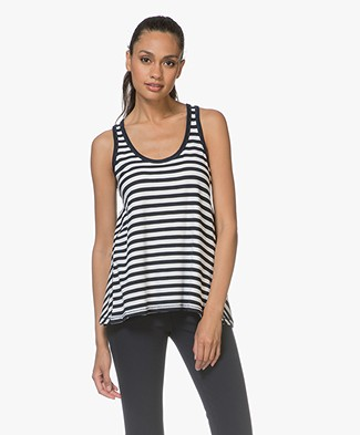Rag & Bone Kat Split Back Tank Top - White/Navy