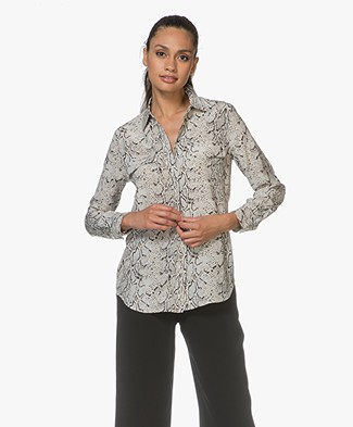 Equipment Slim Signature Washed-silk Blouse - Natural