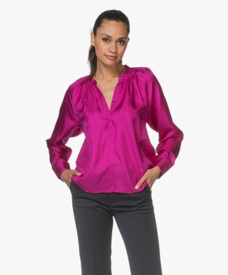 Filippa K Gathered Silk Blouse - Orchid
