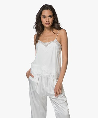 Magali Pascal Libertine Silk Lace Camisole - Off-white