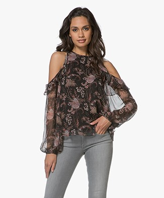Magali Pascal Opium Zijden Cold-shoulder Blouse - Black Valence