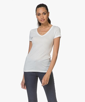 Petit Bateau V-neck T-shirt in Light Cotton - Lait
