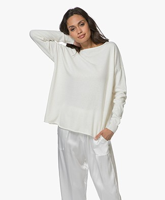 Resort Finest Cashmere Blend Boat Neck Pullover with Buttons - Ecru