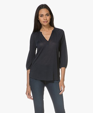 Filippa K Gathered Jersey Blouse - Navy