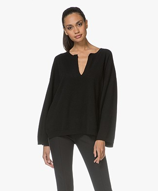 Fine Edge Wide Sleeve Pullover - Jet Black
