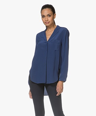 Rag & Bone Alyse Zijden Blouse - Royal Blue
