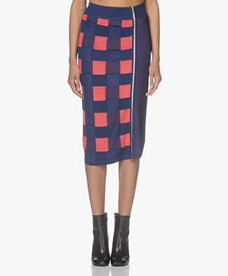Rag & Bone Ridley Jacquard Pencil Skirt in Viscose Blend - Blue/Coral